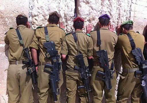 IDF soldiers pray at the Kotel