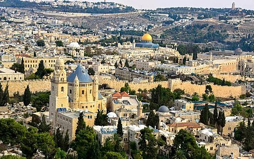 Jerusalem from the air, by the Israeli Police Airborne unit. The Old City of Jerusalem, Mount Zion and Dormition Church