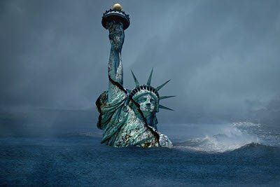 A Sinking Statue Of Liberty, Usa, Collapse, Armageddon